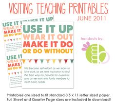 free printables every month for VT. print and go.