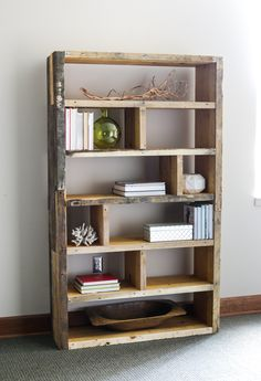 Wooden Pallet Furniture DIY Crates and Pallet Bookshelf More - Learn how to build a DIY rustic bookshelf with crates and reclaimed pallets with this tutorial and free building plans by Jen Woodhouse. Pallet Shelves, Pallet Decor, Bookshelves Diy, Bookshelf Design, Homemade Bookshelves, Diy Bookshelf Plans, Wood Diy, Wooden Pallet Furniture, Furniture Projects