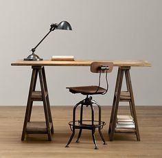 Industrial desk and chair.