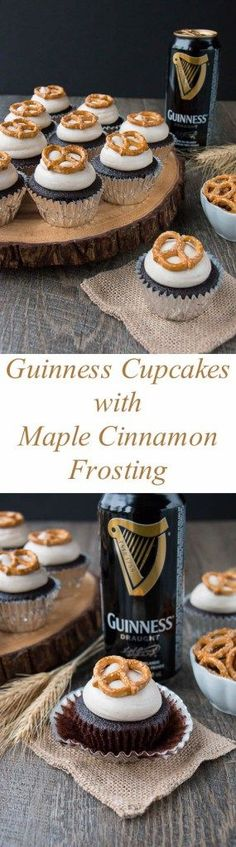 Hey your football fans need some sweet dessert after cheering all afternoon make them Chocolatey boozy cupcakes topped with a sweet cinnamony frosting and crunchy salty pretzels. Guinness Cupcakes, Yummy Appetizers, Yummy Snacks, Delicious Desserts, Cupcake Recipes, Cupcake Cakes, Dessert Recipes, Fun Cupcakes, Beer Tasting Parties