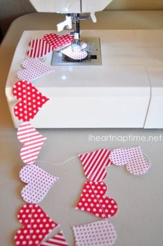 Sewn heart garland to hang on the wall or over a window or doorway!