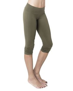Olive Cropped Leggings Organic Cotton
