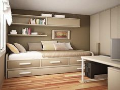 Bedroom Ideas ~ 10 Cozy Bed Designs With Storage For Space Saving Solution: Remarkable Wall Mount Bedroom Shelves Over Single Bed Designs With Storage Added White Computer Desk In Small Guys Bedroom Designs Tricks