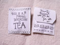 Tea Party Invite custom teabag pack of 10 by victoriamaedesigns, £10.00