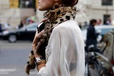 leopard and sheer blouse but its still classy