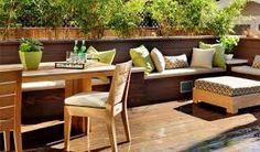 Afbeeldingsresultaat voor lange houten tuinbank