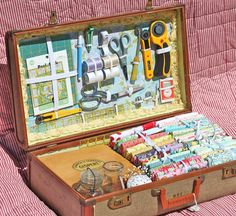 Vintage suitcase turned mobile sewing storage - LOVE this idea:)! I happen to have an old metal suitcase that should work great for this DIY project - from A Place to Roost - nice blog too:)