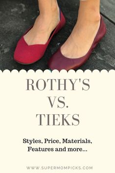 My review and comparison of these two great stylin' and convenient shoes.  I cover price, styles, features and more. #supermompicks #momlife #shoes #rothys #tieks #style #momstyle