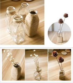 Diy Crafts For Home Decor, Home Decor Vases, Diy Crafts Hacks, Diy Kitchen Decor, Diy Room Decor, Rope Crafts, Jar Crafts, Bottle Crafts, Flower Bottle