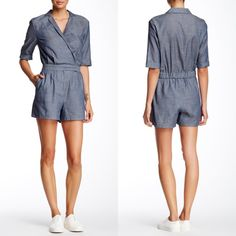 "✨ SALE Flirty Chambray Surplice Romper The smocked back of this cotton, surplice, romper gives it a tailored fit while still being comfortable. The notch collar, front pleats, and rolled sleeves create a cute boyfriend look, while the zip fly, snap-button closure and front slash pockets make it easy to wear. Fully lined bottom.   Approximate measurements Bust 19""  Waist 15.5"" Length 31.5"" Inseam 4""  The model is 5'9"" 34-25-35 and is wearing a S.  shell 100% cotton, lining 100% polyester  ❌…"