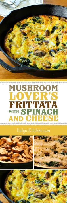 Mushroom Lover's Frittata with Spinach and Cheese is a delicious low-carb breakfast idea that's also Keto, low-glycemic, gluten-free, meatless, and South Beach Diet friendly. [found on KalynsKitchen.c (South Beach Diet Recipes) Low Carb Recipes, Vegetarian Recipes, Cooking Recipes, Healthy Recipes, Skillet Recipes, Bacon Recipes, Cheese Recipes, Vegan Vegetarian, Diet Recipes