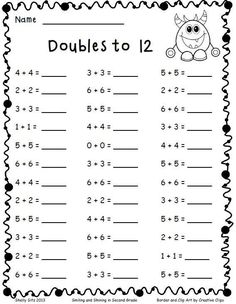 math-Adding Doubles and a Freebie - Smiling and Shining in Second Grade Math Classroom, Kindergarten Math, Teaching Math, Teaching Geography, Preschool, Kids Math, Teaching Time, Teaching Spanish, 2nd Grade Math Worksheets