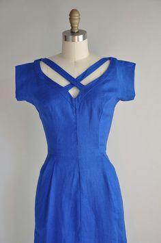 vintage 1950s dress / 50s vintage linen by simplicityisbliss