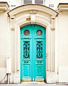 Blue Door in Paris, France - 8x10 Art Photography Print, Travel, French - Turquoise, Color Pop, Neon, Fluo, Bright, Architecture, Parisian. $18.00, via Etsy.