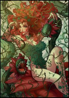 Poison Ivy is one of my favorite Batman villains, I like her design and powers a lot, and the varied way many artists portray her. Personally, my favori. Go Green! Poison Ivy 3, Poison Ivy Dc Comics, Poison Ivy Batman, Poison Ivy Comic, Comic Book Characters, Comic Character, Comic Books Art, Comic Art, Batgirl