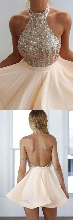 New arrival Sexy Open Back Homecoming Dress, Short Prom Dress , Halter Sleeveless evening gowns with beaded