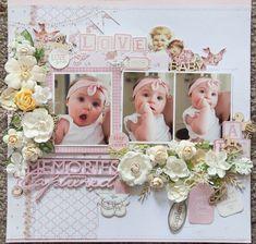 Creative Mayhem: Baby Girl Layout using Kaisercraft 'Peek-a-Boo' Co... #babyscrapbooks