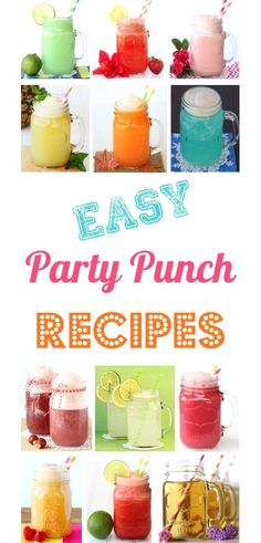 Punch Recipes! Non alcoholic easy punches for Parties!  HUGE list of EASY drinks perfect for your next baby shower, bridal shower, and birthday party!