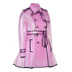RED VALENTINO Clear Petunia Raincoat ($455) ❤ liked on Polyvore featuring outerwear, coats, jackets, raincoat, coats & jackets, transparent rain coats, trench coats, pink coats, double breasted coat and clear coat