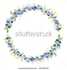 watercolor blueberry decorative festive wreath