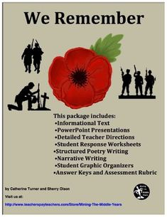 Veterans Day Writing, Veterans Day Reading, Memorial Day ELA activities, Remembrance Day ELA activitiesThis package lends itself well to Veterans Day, Memorial Day or Remembrance Day.   It was designed for grades 5 and up.  It contains Reading (Informational Text) and Writing activities that will augment these holidays.