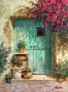 Best ideas for exterior entrance doors paint colors Old Doors, Painting Inspiration, Watercolor Paintings, Watercolour, Windows, Landscape, Artwork, House Entrance, Garden Entrance