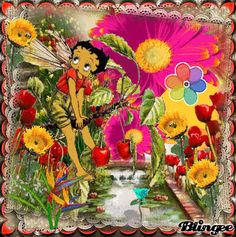 Betty Boop Summer | Betty Boop Sunflowers And Bees Picture #132731421 | Blingee.com