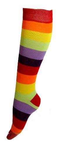 Red Rainbow Wide Stripe Knee High Socks $4.95