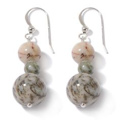 Jay King Grassy Snow Stone Sterling Silver Drop Earrings at HSN.com.