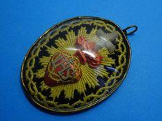 antique SACRED HEART pendant // covex GLASS // monastery WORK 1880