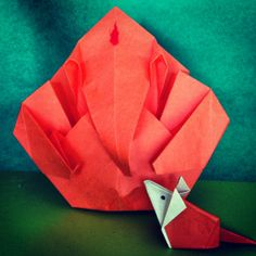 Origami Ganesha with his companion, origami mouse http://shrutikoparkar.wordpress.com/