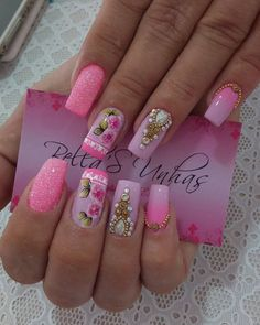 3d Nail Designs, Acrylic Nail Designs, Acrylic Nails, Flower Nail Art, Pretty Nail Art, Nail Tutorials, Gorgeous Nails, Nail Polish Colors, Manicure And Pedicure