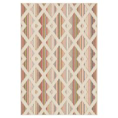 Showcasing a neutral trellis motif over a multicolor-stripe background, this bold indoor/outdoor rug offers eye-catching appeal for your foyer and patio alik...