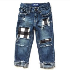 Our Grandpas Flannel patched jeans are distressed by hand and made with love for your little one. Stay ahead of the fashion game by adding soft, Diy Jeans, Plaid Jeans, Baby Boy Outfits, Kids Outfits, How To Patch Jeans, Wicked Costumes, Patchwork Jeans, Distressed Denim, Swagg