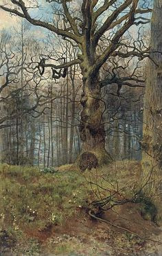 The Spring Wood by John Maler Collier, British, 1850-1934. Collier was an artist and author who painted in the Pre-Raphaelite style. In addition to landscapes, he was considered the most prominent...