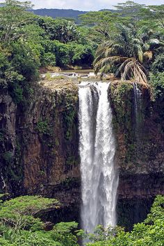 The Chamarel Waterfalls on the River St. Denis in the Black River Gorges National Park at Chamarel, Mauritius, Africa.