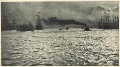 Harbour of Hamburg - Kühn Heinrich (1866 - 1944) - prise en 1911 - héliogravure - 12x27.1 cm - Paris musée d'Orsay