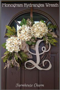 BEST SELLING Year Round Cream Hydrangea Wreath for Front Door - Grapevine Wreath with Burlap and Initial - Monogram Everyday Wreath #wreath #monogram #afflink #hydrangea #rustic #rusticdecor #farmhouse #farmhousedecor