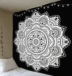 Black and white tapestry wall hanging Mandala Tapestry Floral ombre tapestry Wall art Dorm Decor Hippie Hippy Tapestry Mandala Wall Art Bohemian Bedspread Bedding Bed Cover Beach Blanket picnic *** Click image for more details-affiliate link. Bohemian Bedspread, Bohemian Tapestry, Bohemian Decor, Tapestry Floral, Mandala Mural, Mandala Tapestry, Mandala Painting, Headboard Decal, Wall Drawing