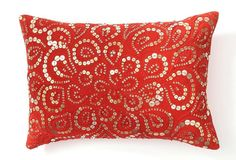 paisley button pillow