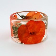Rosemary and Hydrangea Botanical Resin Bangle.  Autumn Chunky Bangle with Pressed Flowers.  Orange and Green Real Flowers and Herbs