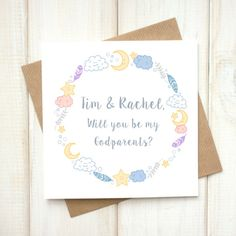 Will you be my Godparent card - Personalised Godparent Christening Card - Godparent Baptism Card - Godfather Card - Godmother Card - Etsy - LetsDreambyChiChiMoi