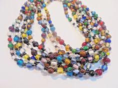 Vintage SET of 2 ALL GLASS Beaded FLAPPER Necklace Multi Colored Boho 1970's LOT #Unbranded #StrandString