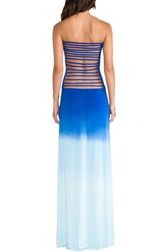 Ombre Color Strapless Backless Maxi Dress