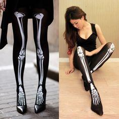 Vogue Skeleton Bone Printed Pants Tights Pantyhose Leggings Stockings Leggings only $2.80