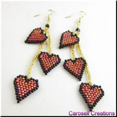 Triple Drop Heart Seed Beaded Dangle Valentine Earrings TAGS - Jewelry, Earrings, Beaded, carosell creations, glass, seed beads, red, black, gold, jewelry, valentine, heart, drop, dangle, earrings, pierced, accessories, love, holiday, gift, small, dainty, petite, brick stitch, romance, weaved, woven, glitz, ladies, fashion, etsy, sweet, girlfriend, passion, women, hand made