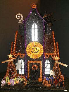 SALE Light Up Halloween Glittered Putz House Lighted Dept Village 56 Paper Witch | eBay