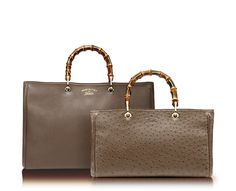 bamboo shopper leather tote