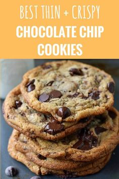 and Crispy Chocolate Chip Cookies. The perfect browned butter crispy chocolate chip cookies. How to make thin and crispy chocolate chip cookies. Crispy Cookies, Yummy Cookies, Roll Cookies, Best Dessert Recipes, Delicious Desserts, Thin Chocolate Chip Cookies, Chocolate Chip Biscuits, Chocolate Chocolate, Baking Recipes