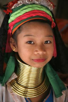 """A girl from the Thai (Burma/Myanma) """"Long Neck"""" tribe. I was inspired by their tenacity and optimism. Also by their dedication to their culture and heritage in the face of adversity and struggle."""